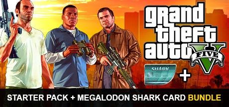 Grand Theft Auto V and Criminal Enterprise Starter Pack and Megalodon Shark Card Bundle